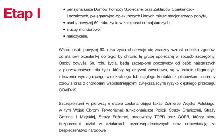 Etap 1 szczepień naCOVID-19
